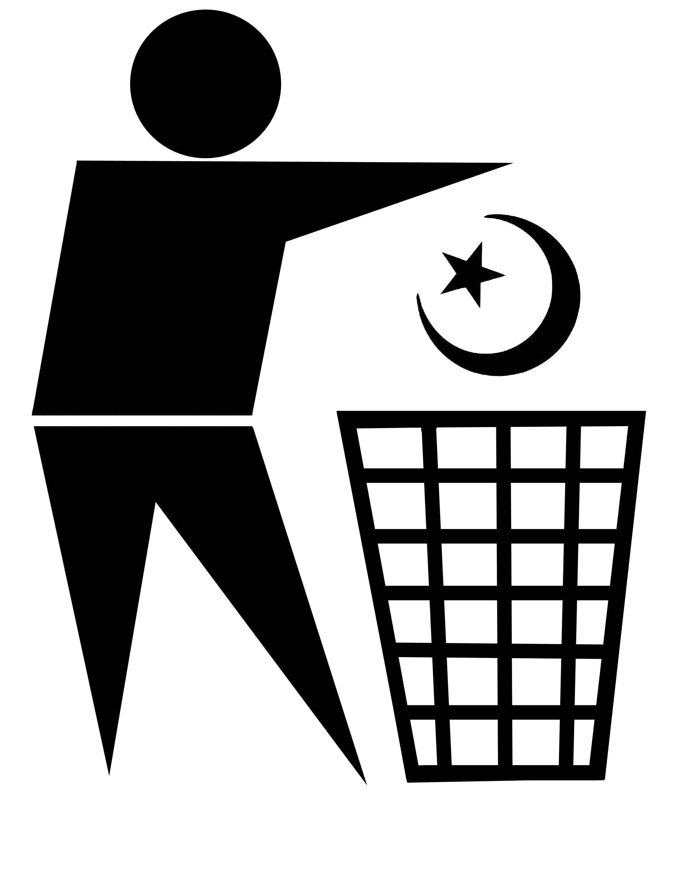 standard waste bin sign with Islamic religious symbol being discarded